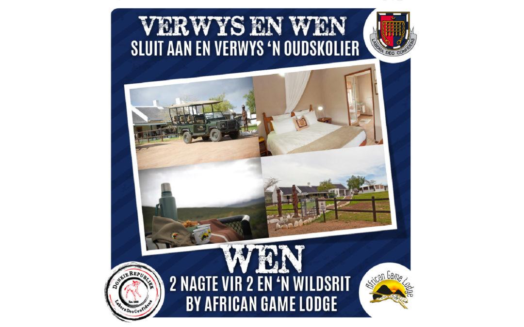 VERWYS 'N OUDSKOLIER EN WEN 'N WEGBREEK EN WILDSRIT BY AFRICAN GAME LODGE