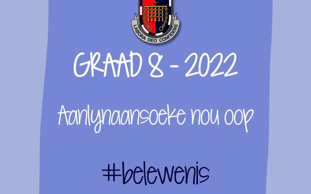 AANSOEKE – GRAAD 8 – 2022